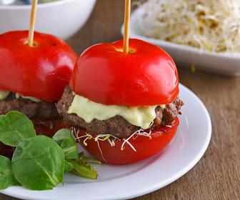 Low Carb Grill Tomato Hamburger Buns